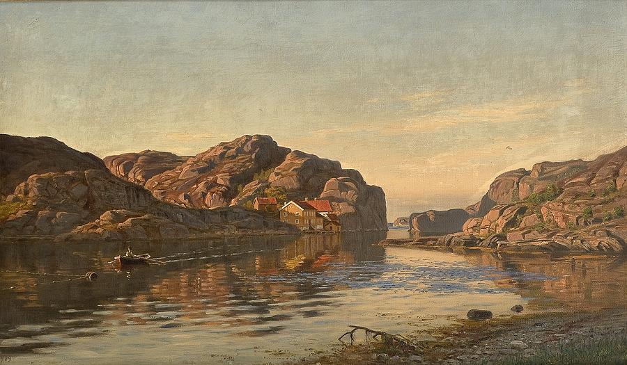 Nature Painting - Nielsen, Amaldus Clarin 1838-1932 Morning, Ny-hellesund 1909 by Nielsen Amaldus Clarin