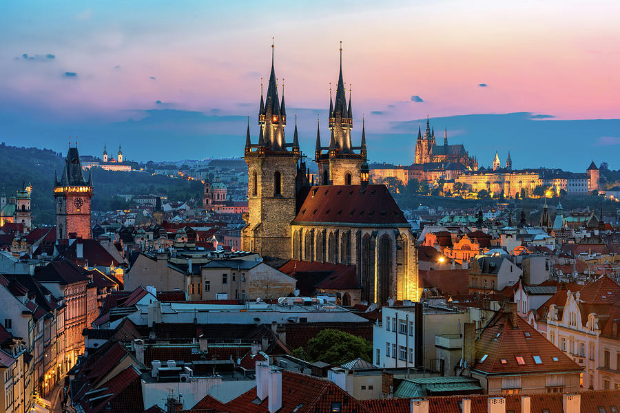 Sunset Photograph - Night Aerial View Of Prague Old Town by Valery Egorov