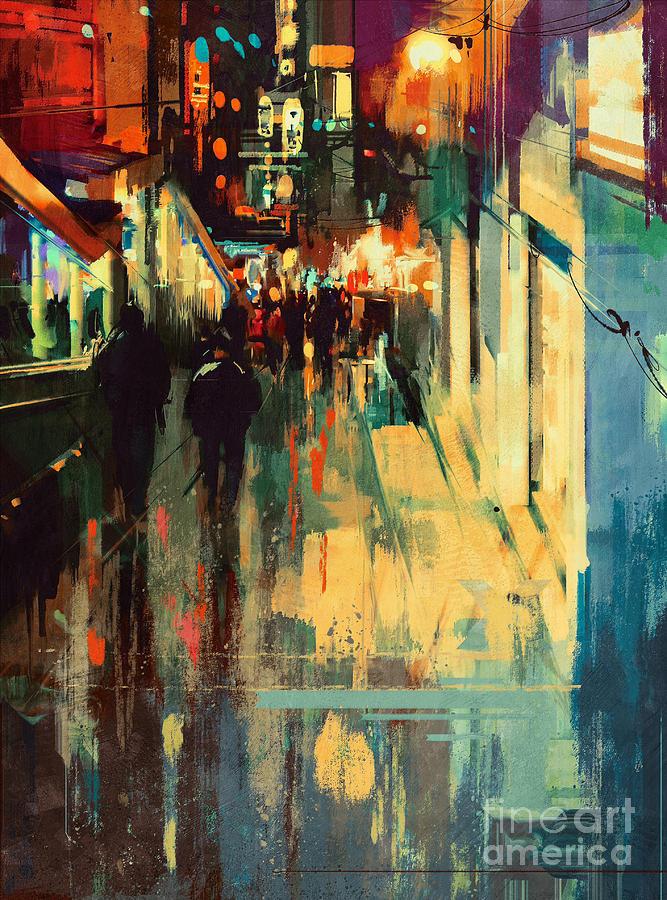 Night Alleyway Painting