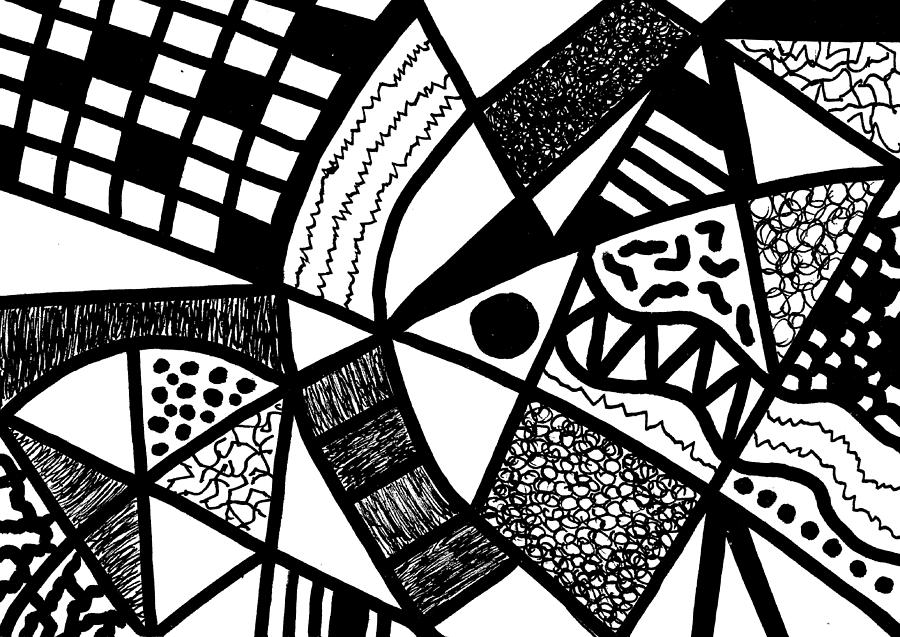 Abstract Drawing - Black And White 20/night And Day 1 by Susan Schanerman