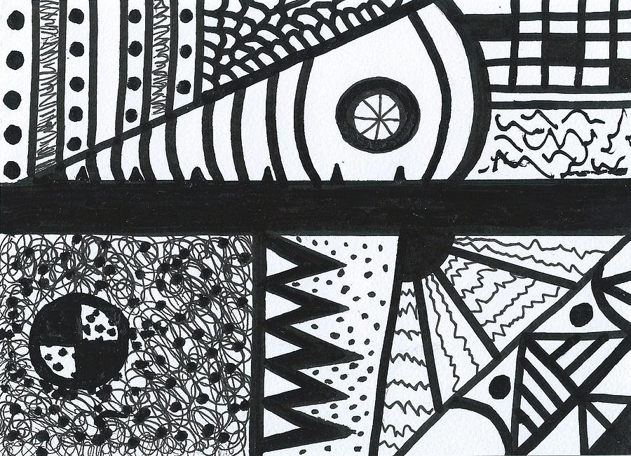 Original Abstract Drawing - Night And Day 3 by Susan Schanerman