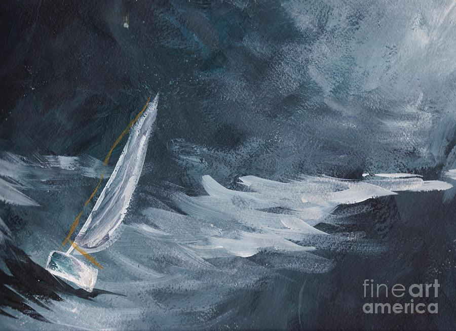 Ocean Painting - Night At Sea by Tina Steele Penn