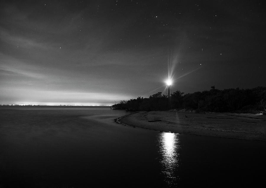 Night At The Sanibel Lighthouse In Black And White Photograph by Chrystal Mimbs