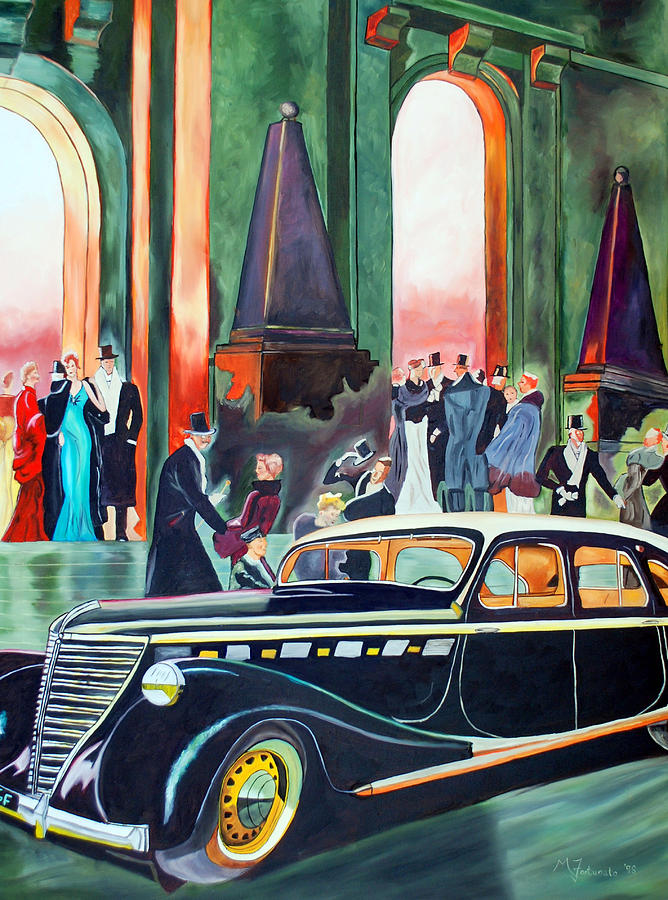 Car Painting - Night At The Theater by Margaret Fortunato
