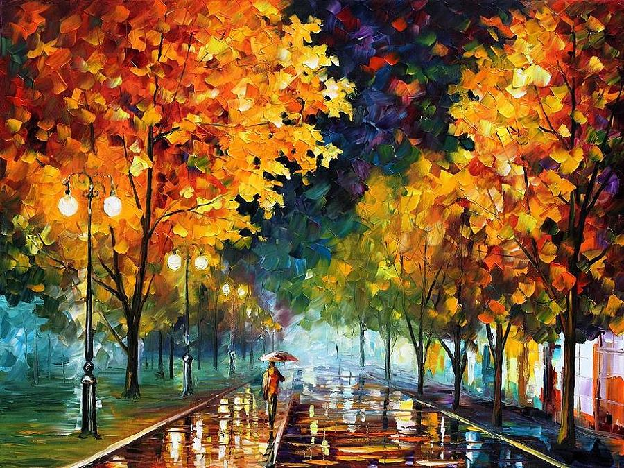 Night Autumn Park Painting By Leonid Afremov