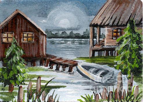 Louisiana Painting - Night Bayou by Elaine Hodges