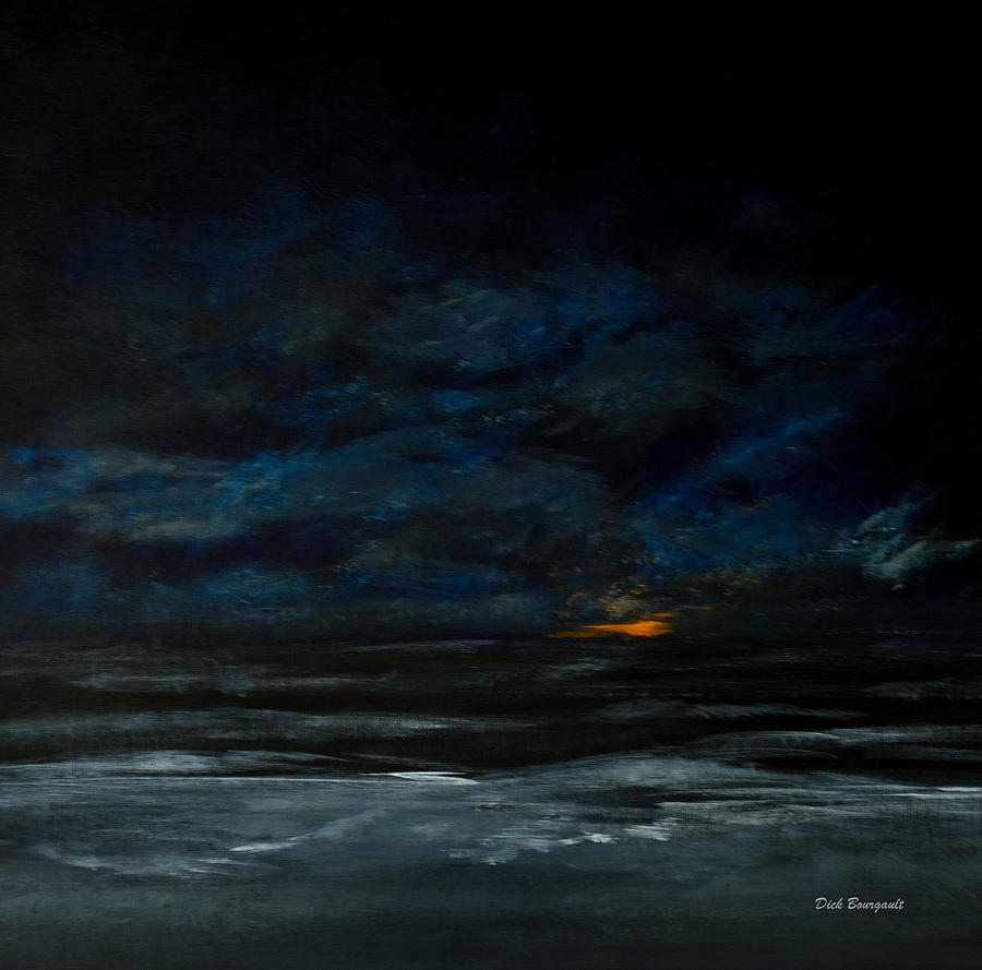 Beach Painting - Night Beach by Dick Bourgault