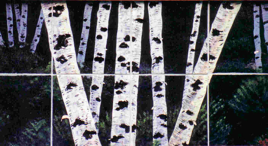 Birch Trees Painting - Night Birches by Dy Witt