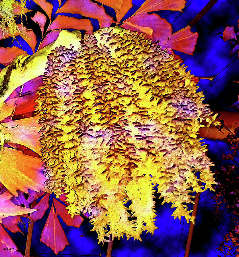 Abstract Mixed Media - Night Bloom by Bonnie Baker