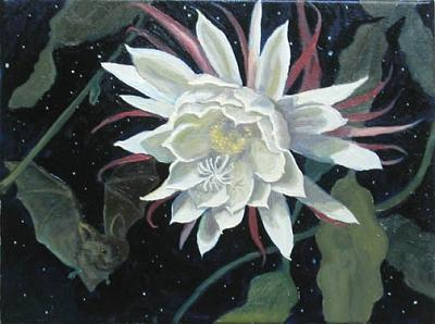 Night Blooming Cereus And Bat Painting by Margie Guyot