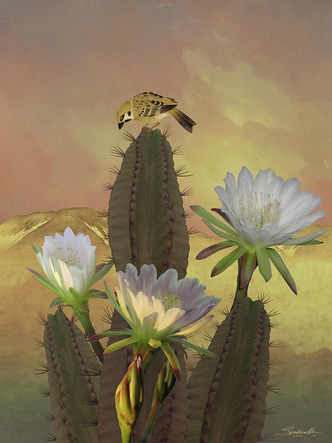 Flowers Digital Art - Night Blooming Cereus by M Spadecaller
