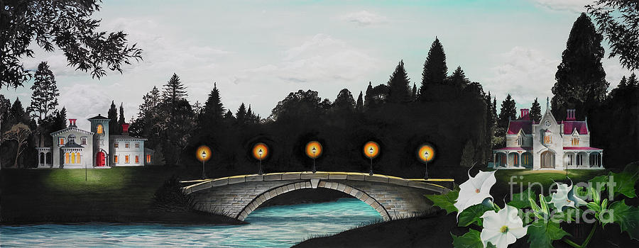 Architecture Painting - Night Bridge by Melissa A Benson