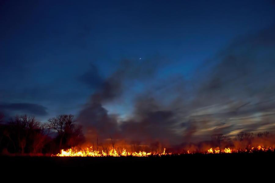 Flint Hills Photograph - Night Burn by Alan Hutchins