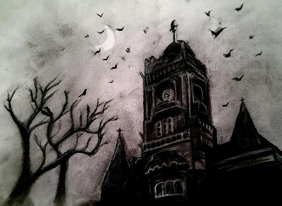 Night Time Landscape Drawing - Night by Carole Hutchison