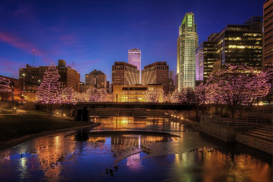 Omaha Nebraska Photograph - Night Cityscape - Omaha - Nebraska by Nikolyn McDonald
