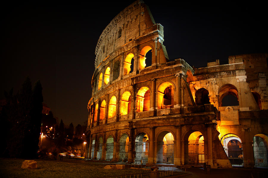Colosseum Photograph - Night Colosseum by Kevin Flynn