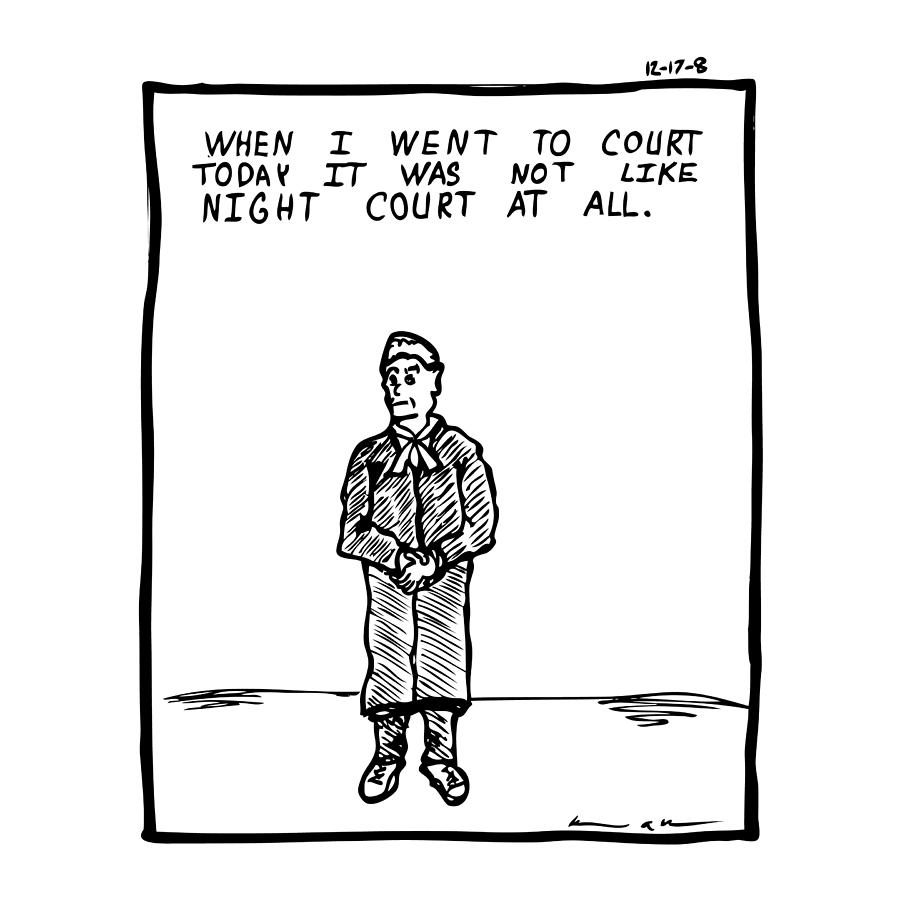 Drawing Drawing - Night Court Comic by Karl Addison