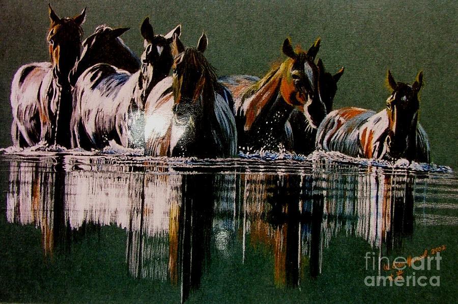 Horse Drawing - Night Crossing by Dan Hausel