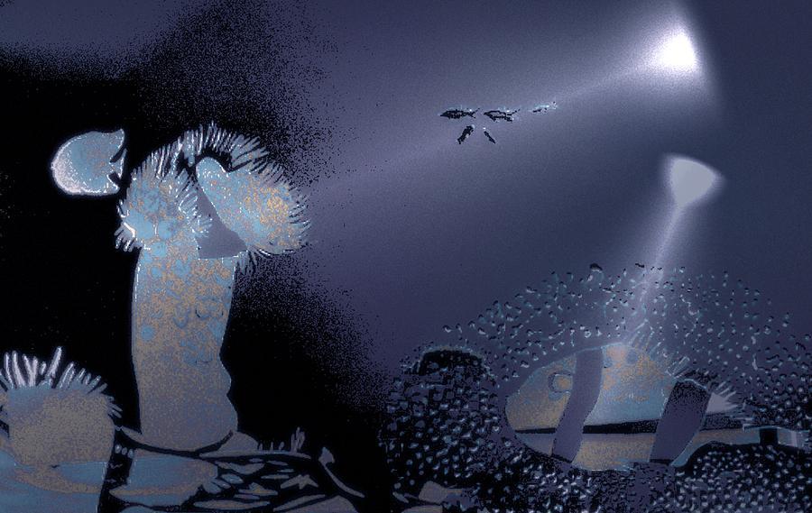 Diving Digital Art - Night Dive by Mushtaq Bhat