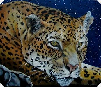 Leopards Painting - Night Eyes by Syndi Michael