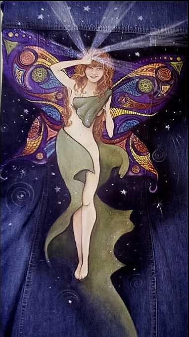 Night Fairy Tapestry - Textile by Janet Gioffre Harrington