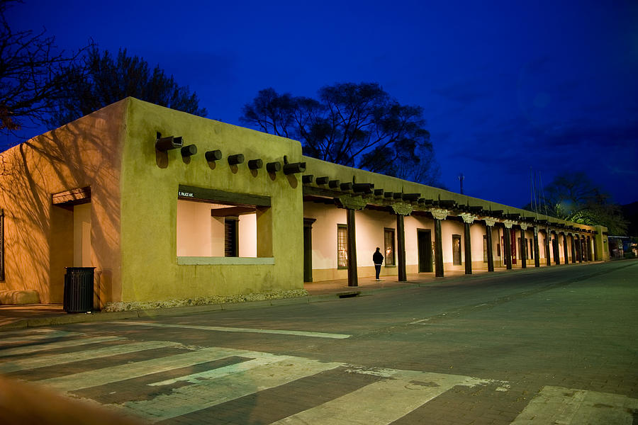 Santa Fe Photograph - Night Falls On The Palace Of The by Stephen St. John