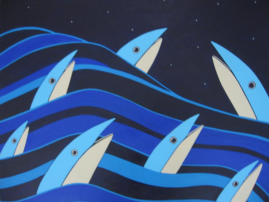 Fish Painting - Night Fish Stars On The Water by Sandra McHugh