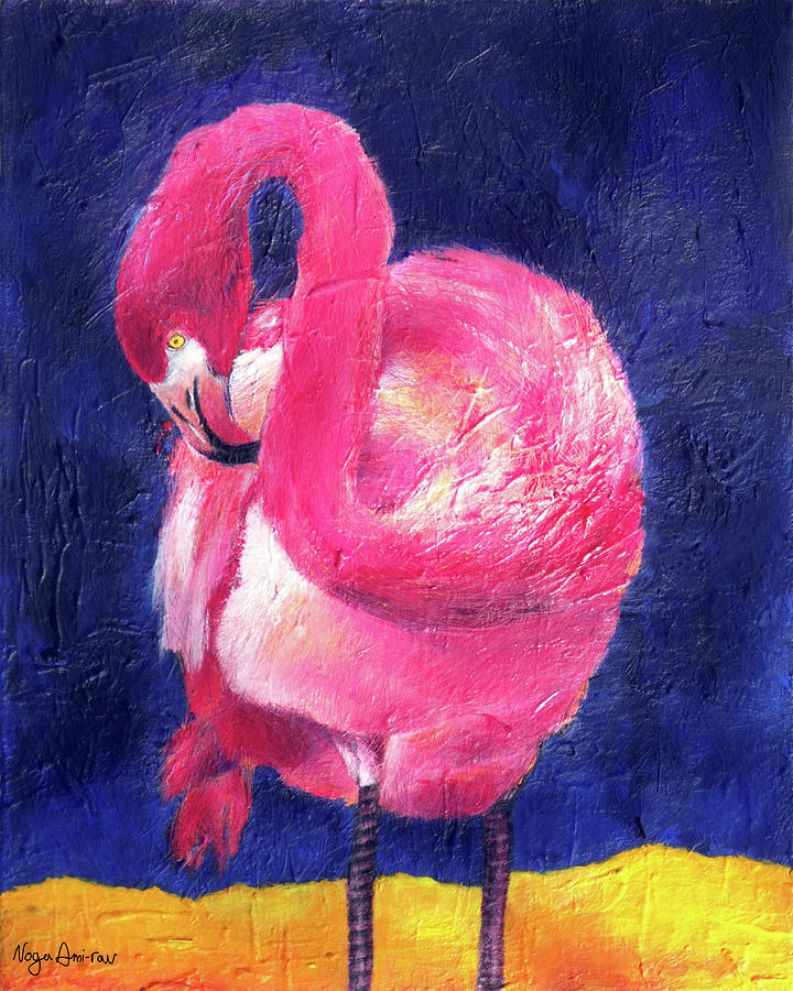 Pink Flamingo Painting - Night Flamingo by Noga Ami-rav