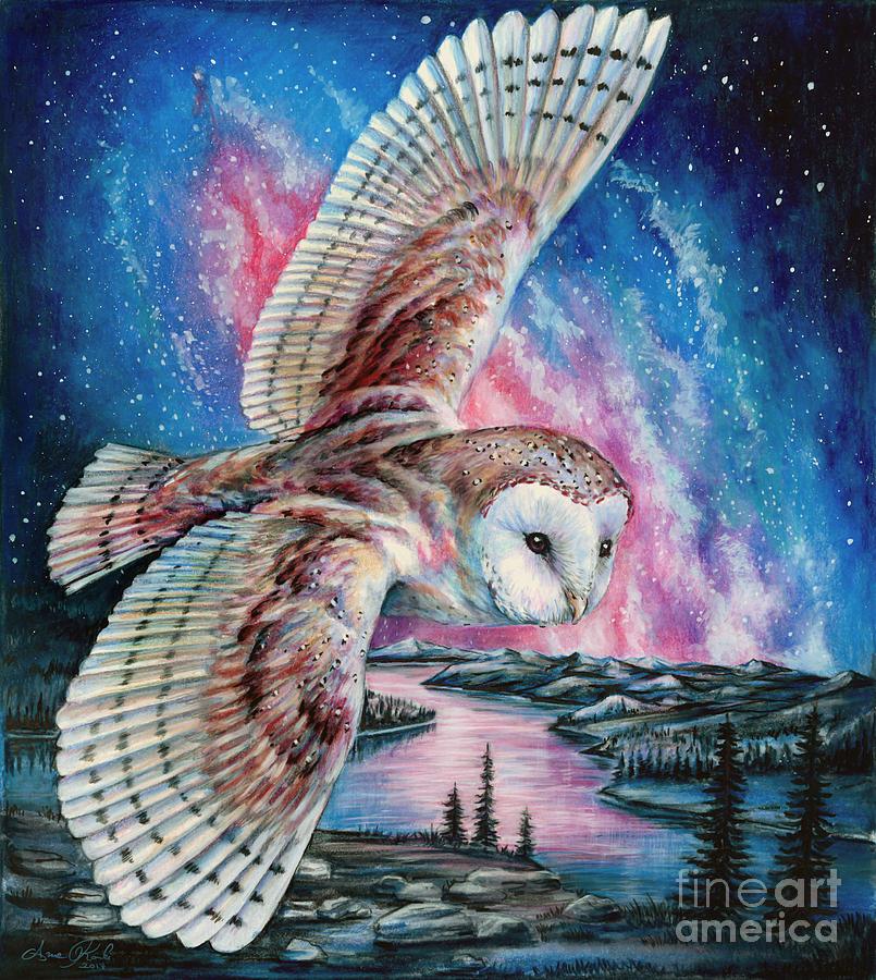 OWL Flying Watercolor Print Wall illustrations Harry Potter Inspiration Art Post