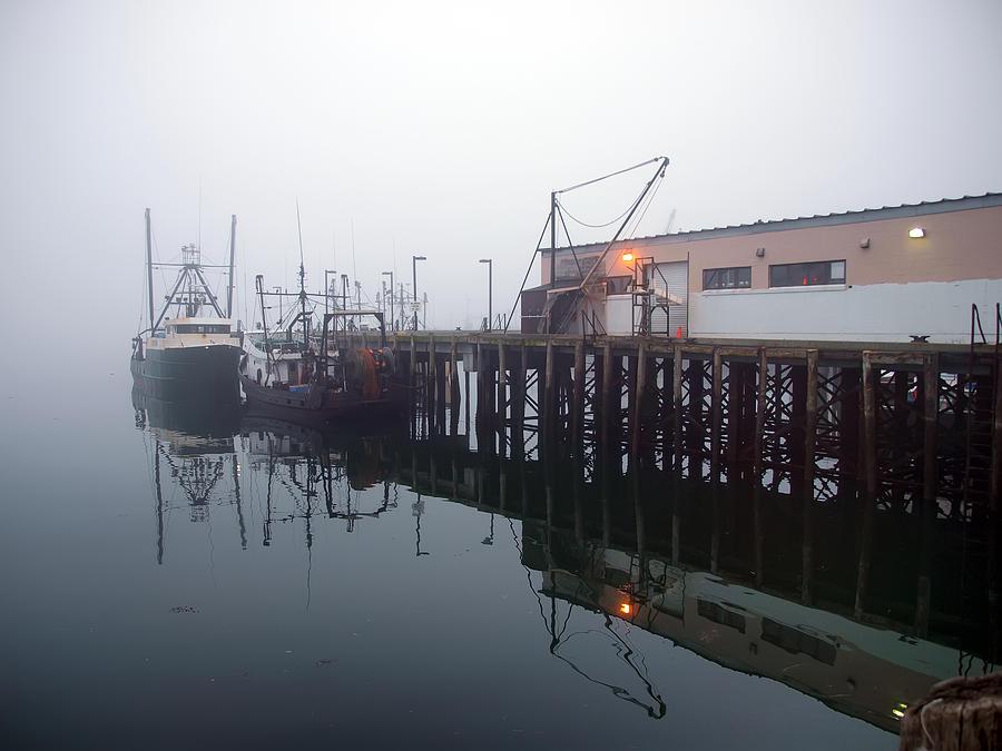 Seascape Photograph - Night Fog Along The Dock by Bob Orsillo