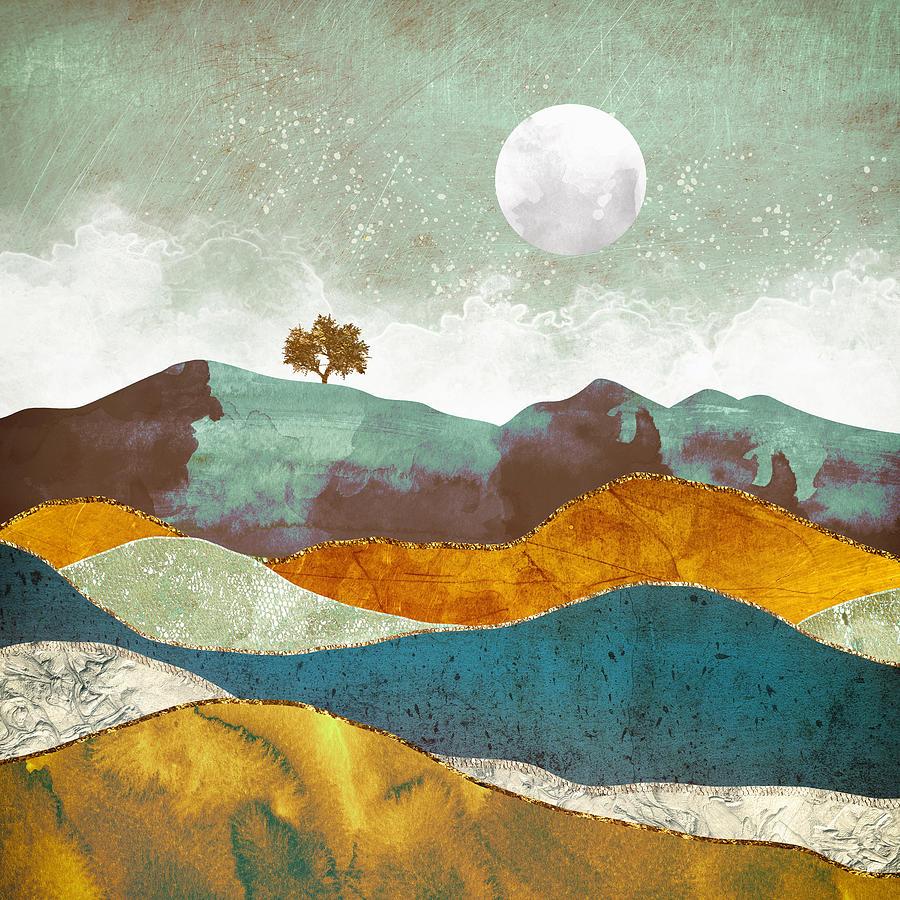 Moon Digital Art - Night Fog by Spacefrog Designs