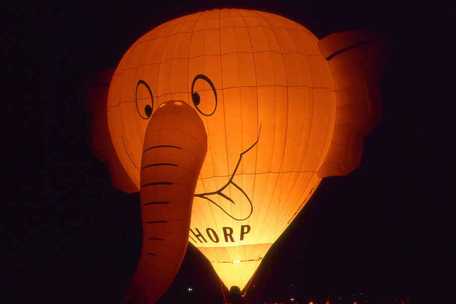 Ballooning Photograph - Night Glowing Elephant - Hot Air Balloon Photo by Peter Potter