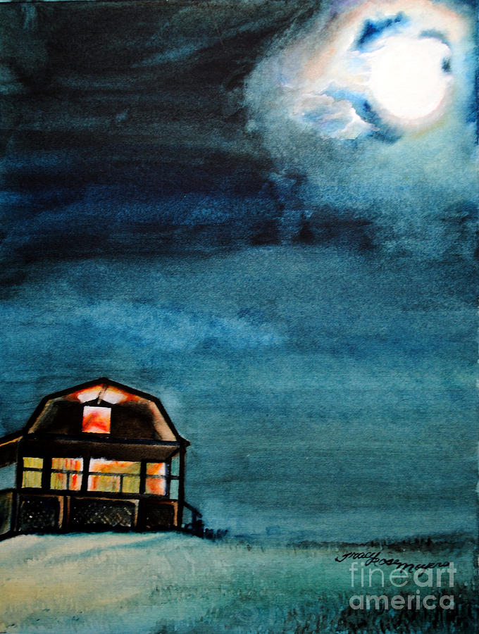 Night Scene Painting - Night Glow by Tracy Rose Moyers