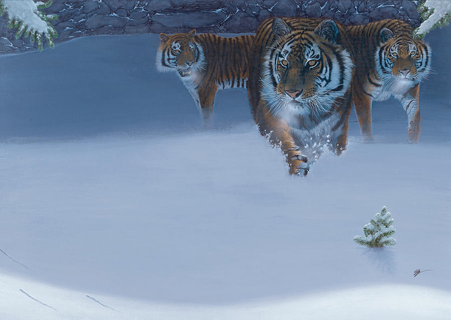 Tiger Painting - Night Hunt by Durwood Coffey