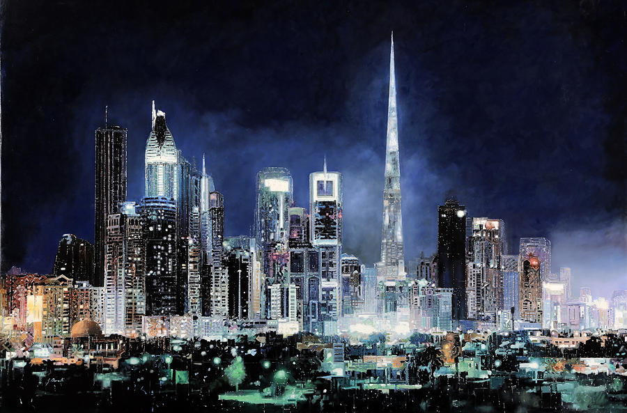 Emirates Painting - night in Dubai City by Guido Borelli