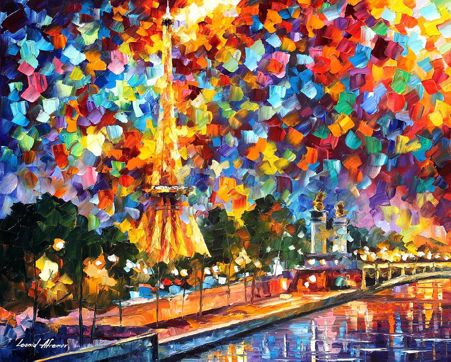 art gallery painting night in paris palette knife oil painting on canvas by leonid