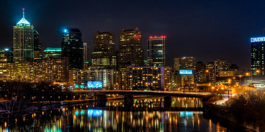 Night Photograph - Night In The City Of Brotherly Love by Louis Dallara