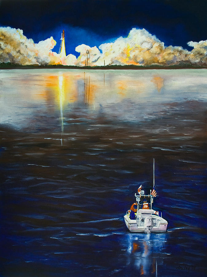 Coast Guard Painting - Night Launch by Dorothy Riley