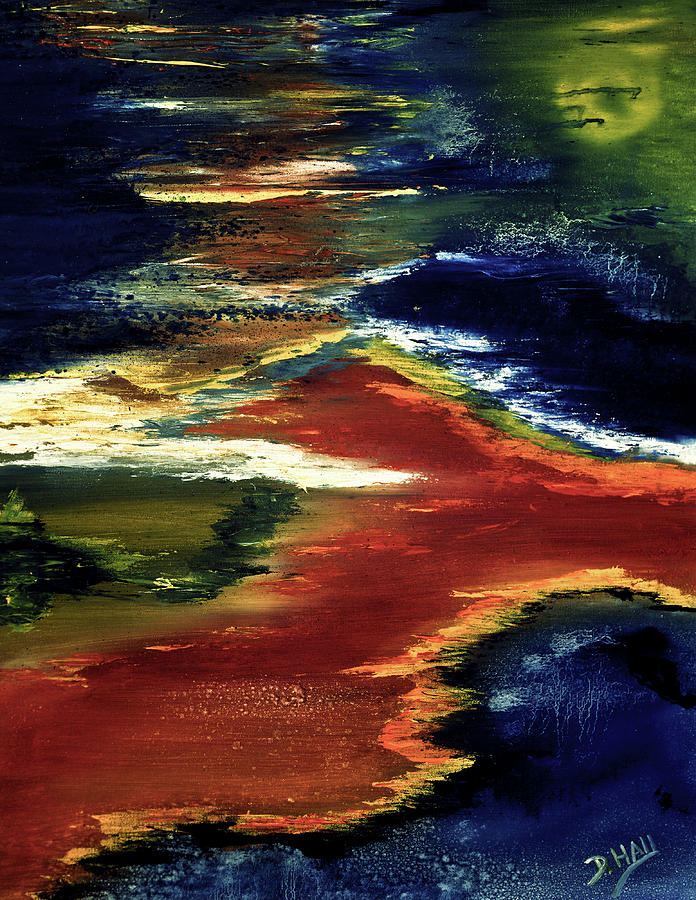 Abstract Paintings Painting - Night Lava #02 by Donald k Hall