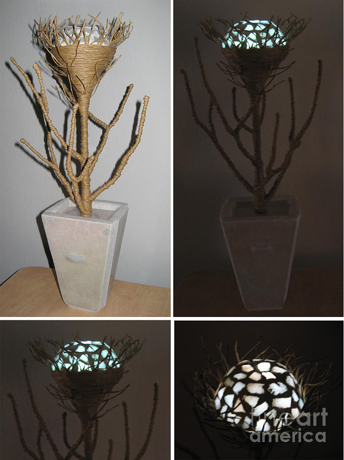 Sculpture Mixed Media - Night Light Mosaic Flower Marble by Thomas Maes
