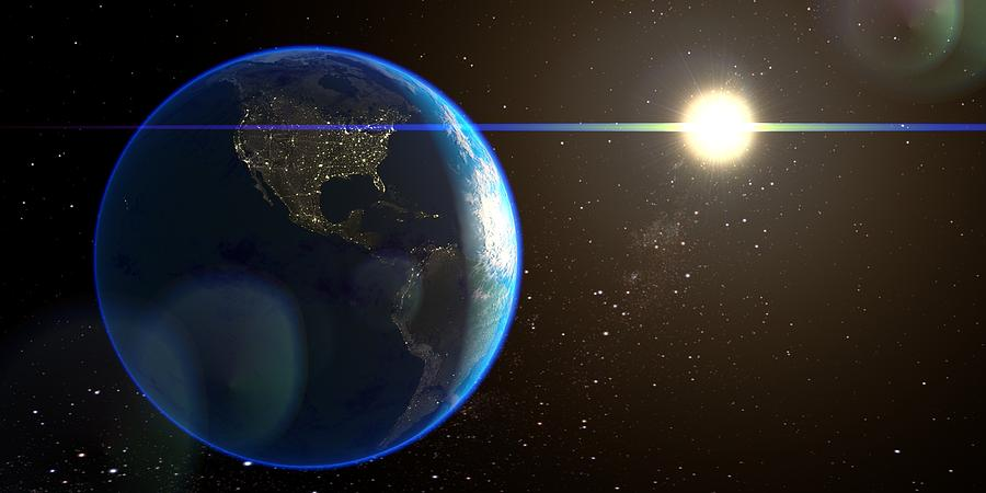 Night Lighted Earth From Space