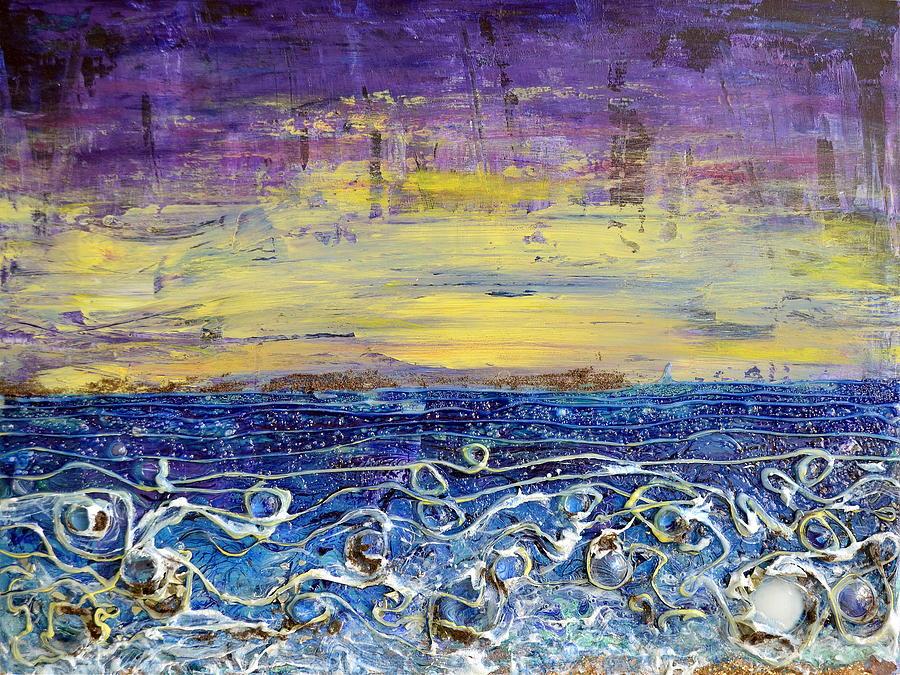 Shore Painting - Night Lit Shoreline by Regina Valluzzi