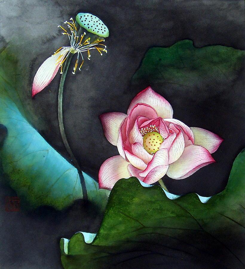 Florals Painting - Night Lotus by Leaf Moore