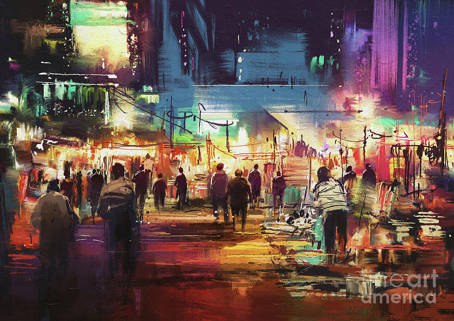 Night Market Painting