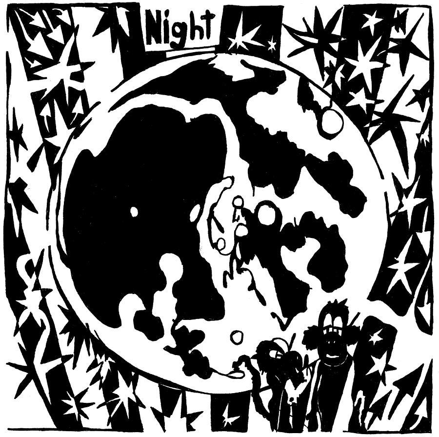 Maze Drawing - Night Maze by Yonatan Frimer Maze Artist