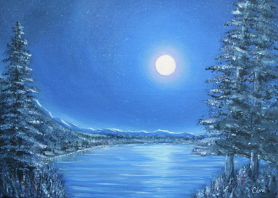 Night Painting - Night Moon by Lisa Cini