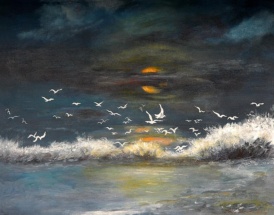 Night Oceanscape Painting - Night Moves by Shirley Lawing
