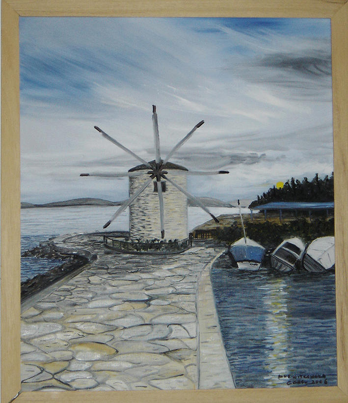 Blue Painting - Night Near The Windmill by Anna Witkowska