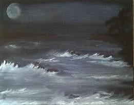 Ocean Painting - Night Ocean Sky by Amber Meshell Stukes