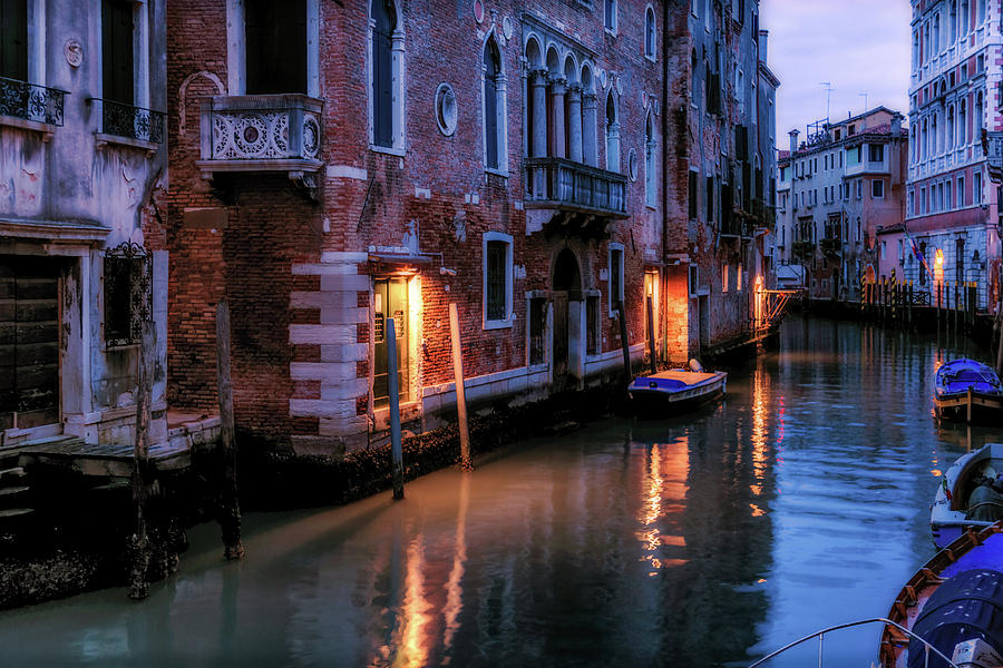 Venice Photograph - Night On A Canal In Venice by Georgia Fowler